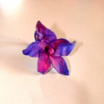 Free-hand modelled & spray-painted ring in the shape of a flower