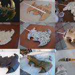 Expanding foam, paper mache, and Worbla