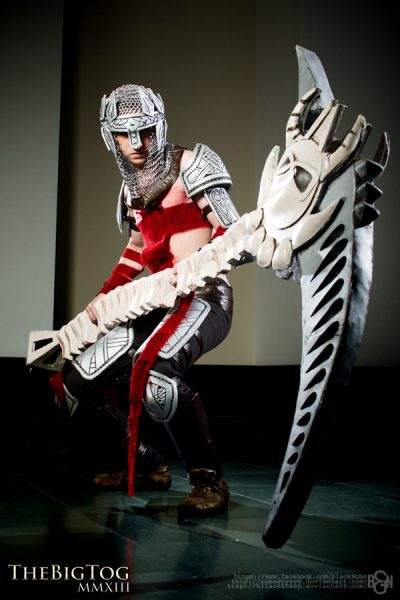 Image of finished costume and armor with strapping method