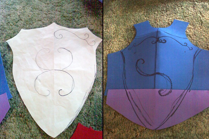 I altered a shirt pattern and made a shield pattern for the overlay. I made a craft foam base.