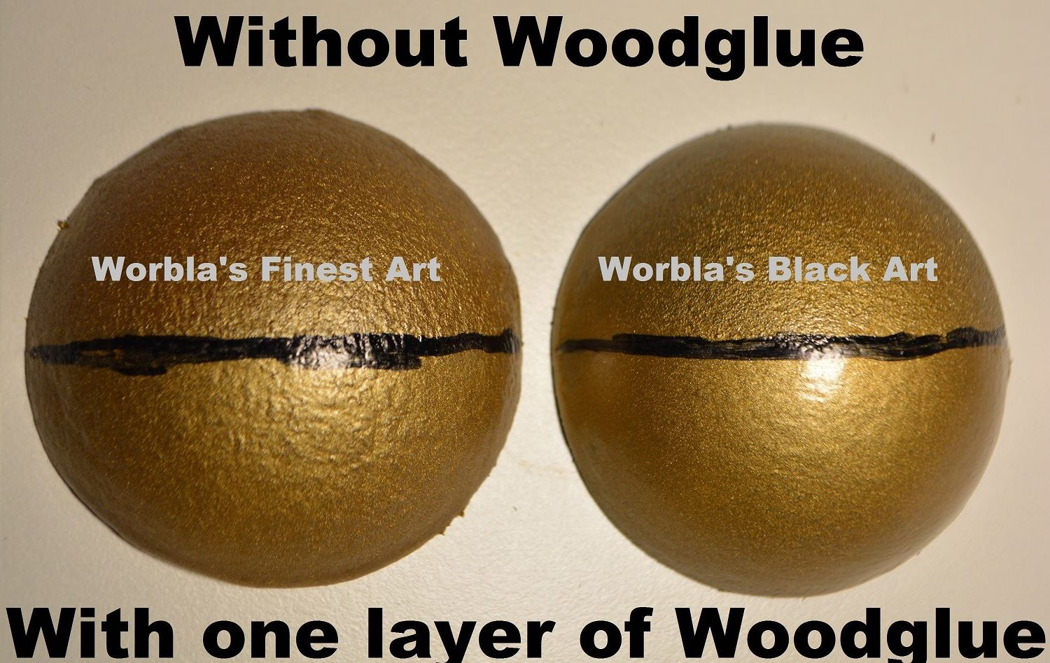 Another  example from Erza Cosplay, showing a curved surface with the standard coating of wood glue and the differences between WFA and WBA