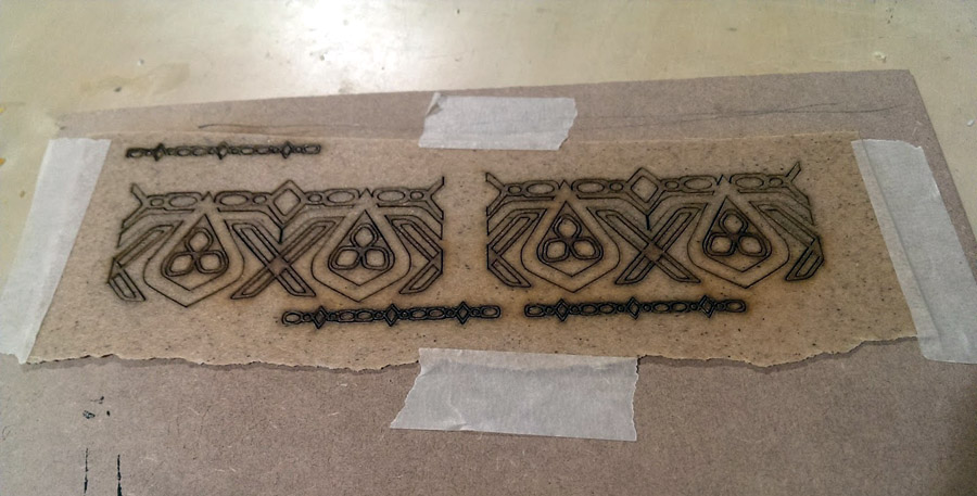 Worbla heated and then taped to MDF before run through a laser cutter, by Chrisx Design