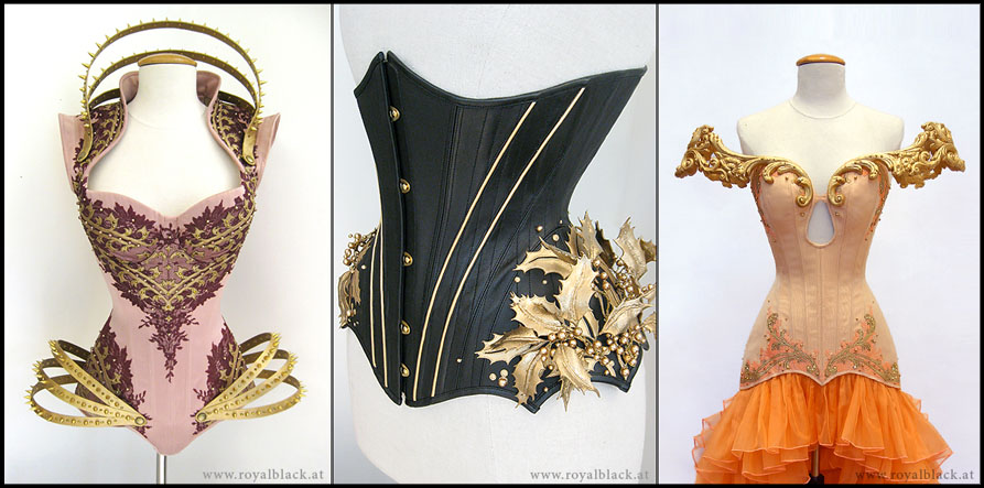 Corsets created by Royal Black Couture, Worbla used in the collar, shoulder, and leaf detail.