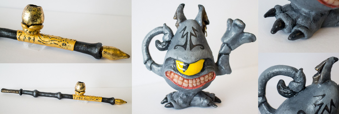 Left: FlameRed sculpted into an opium pipe prop. Right, Black Art sculpted into a Cheshire Cat Teapot. By Elemental Photography.