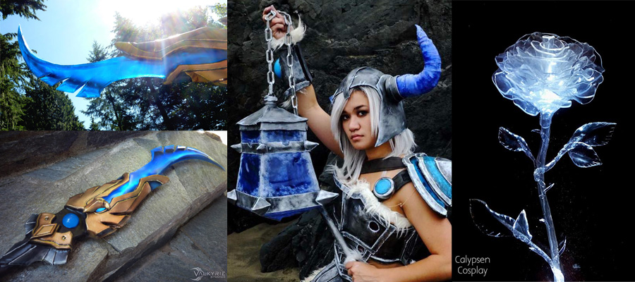 TranspArt examples: Left, sword by Valkyrie Studios; middle, sword and flail by Kazzy Cosplay; right, rose by Calypsen Cosplay.