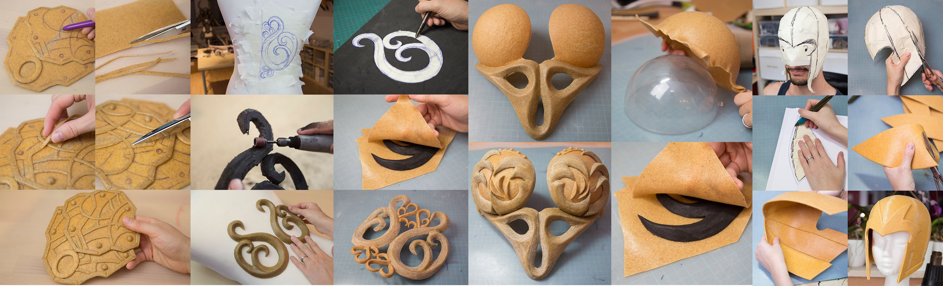 Worbla being shaped, examples by Kamui Cosplay