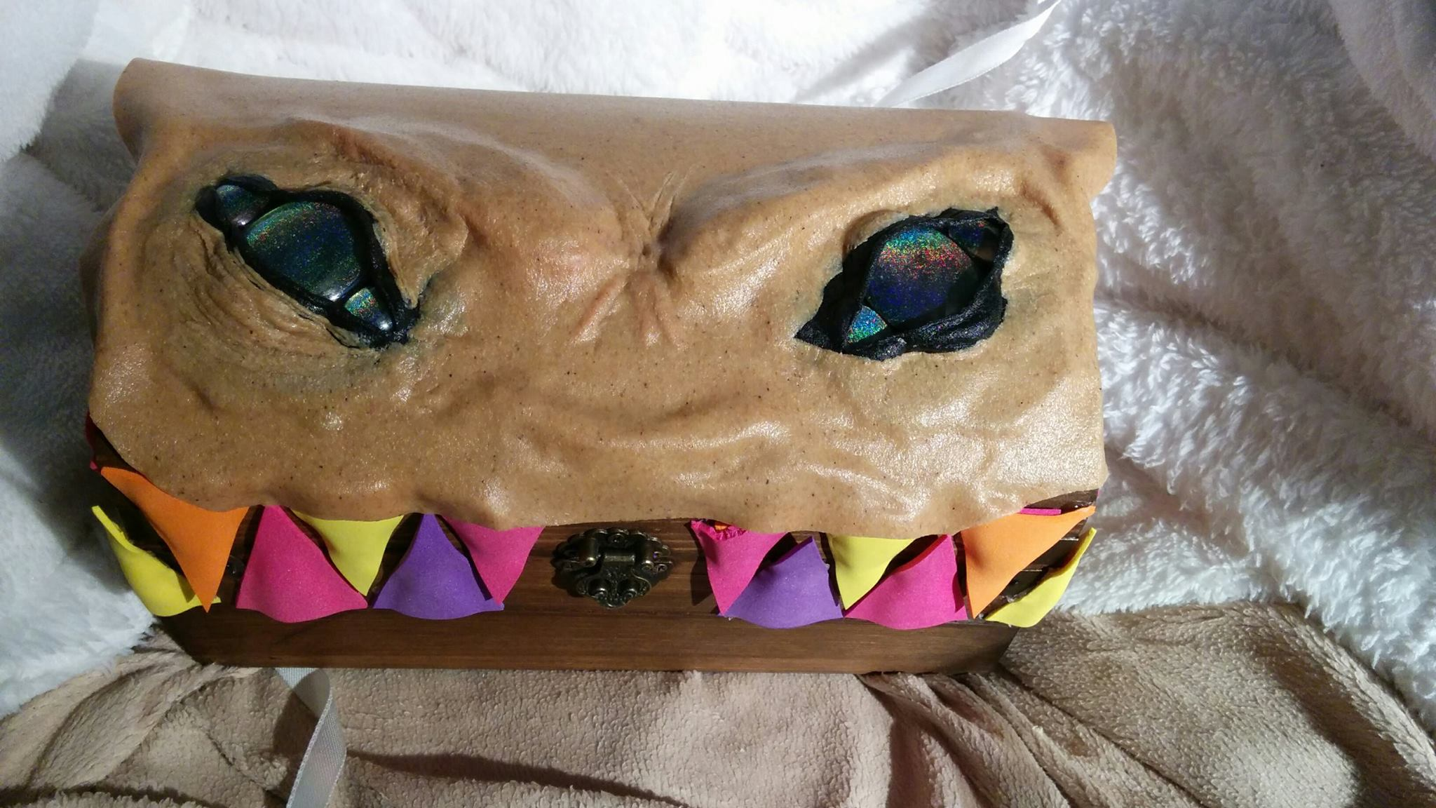 Shape the face until happy with the look. I ended up adding more worbla to the eyes for extra wrinkles.