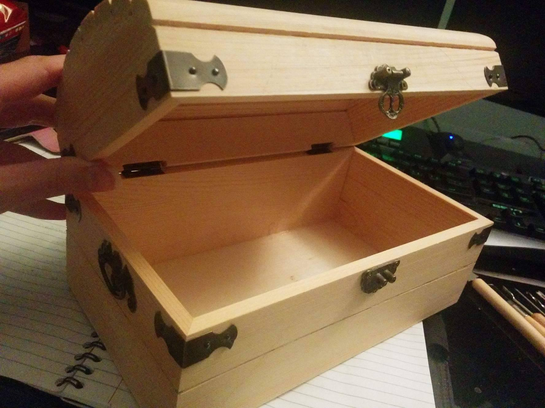 This is my starting point. A plain wooden box bought from a craft store. (This particular one is from Micheals).