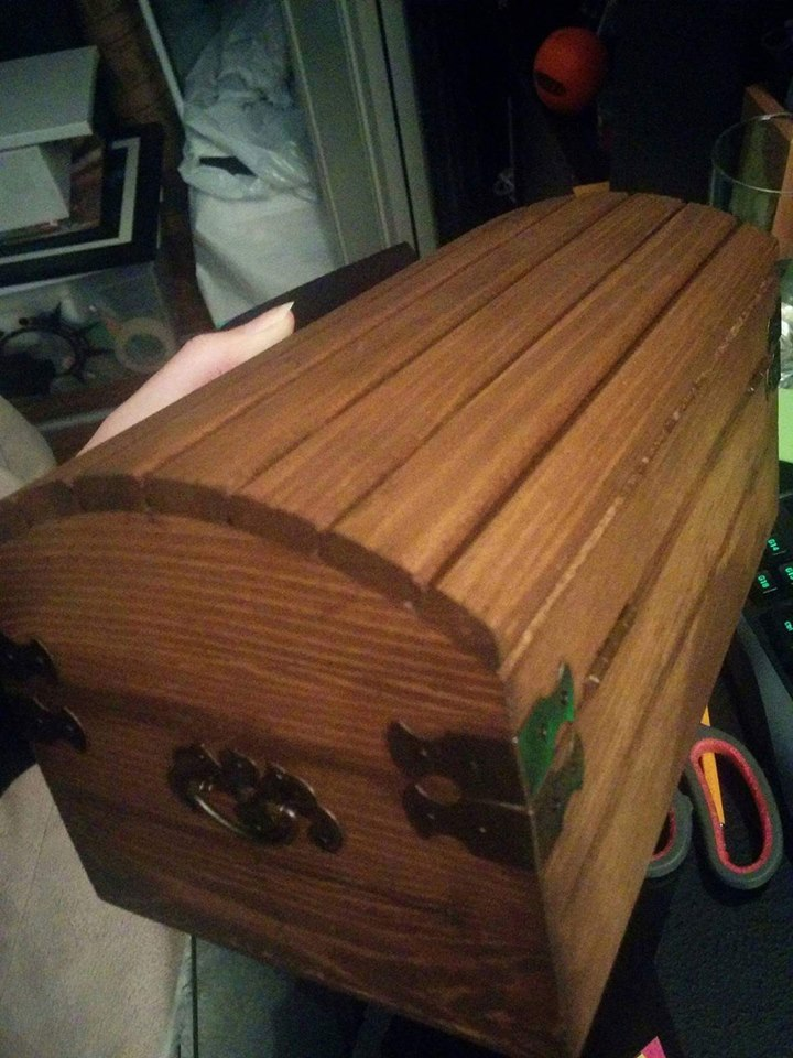 The chest now that the wood stain is completely dry.