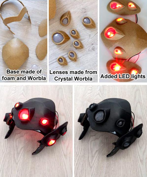 A Widowmaker helmet with  lenses from Crystal Art by Team Paraluna