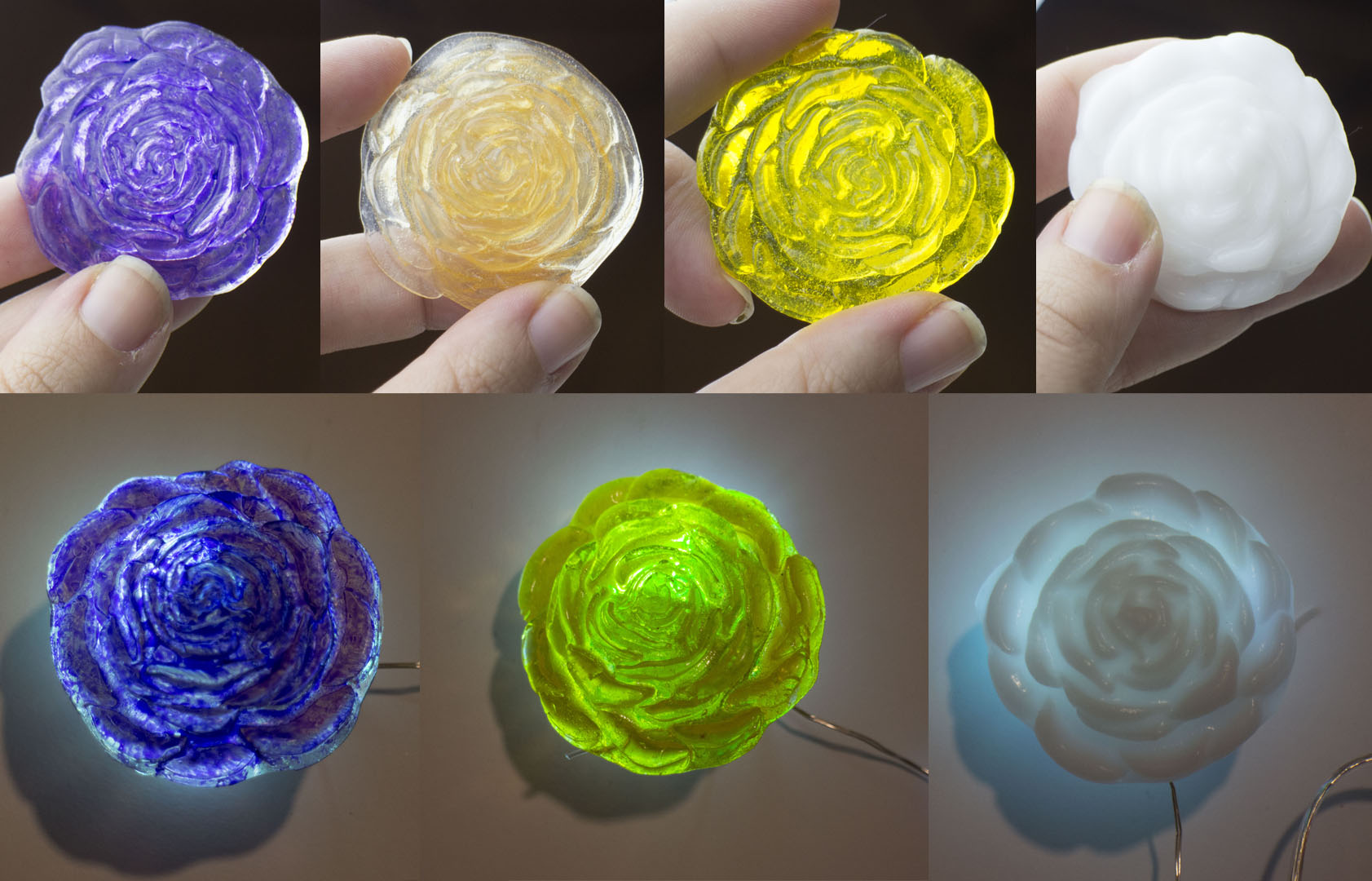 Various roses cast with Crystal Art and different coloring methods. Far right rose is Deco Art.