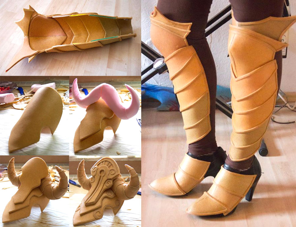 Top and right: Worbla sandwiched over foam to create overlapping plates for leg armor. Bottom left: shoulder pauldron made of overlapped sandwiched foam and Worbla's Finest Art. By Kamui.