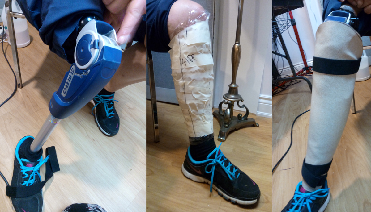 Our model's prosthetic, the tape double of her other leg for the pattern, and the formed worbla wrapped around the bare prosthetic - clearly too small, but a good start!