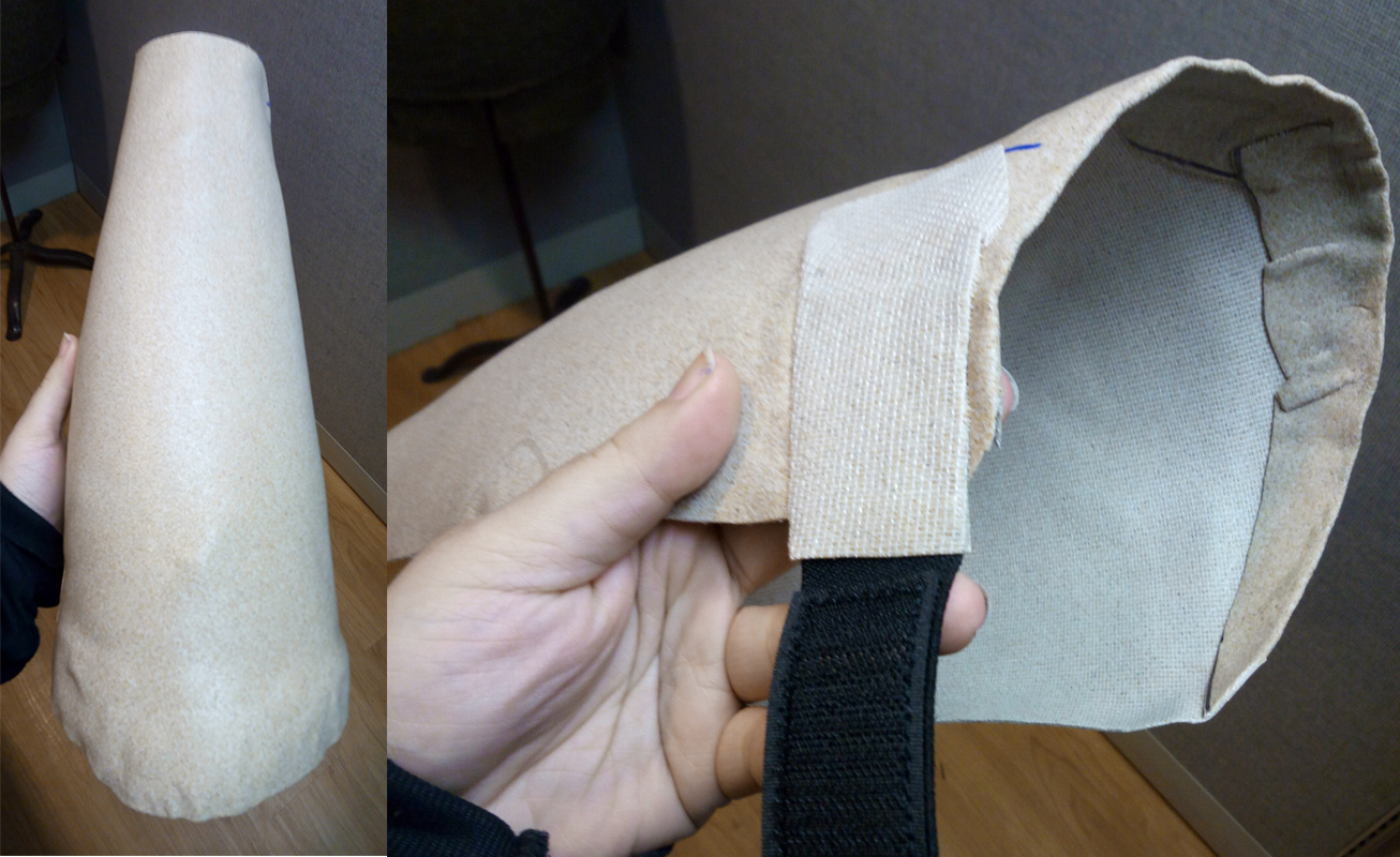 The shell of the leg and the velcro and elastic attachment. You can see the top edge of the Worbla was folded down for a smoother finish and added strength.