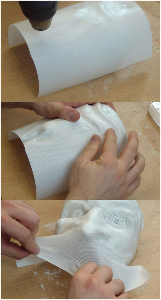 Worbla's Kobracast Art being shaped over a plaster mold.