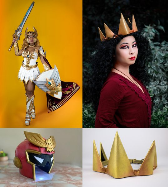 Examples of modeled work / finished work against plain backgrounds. She Ra by Sami Bess, Captain Falcon helmet by Phalafel, Evil Queen Crown modeled by VickyBunnyAngel