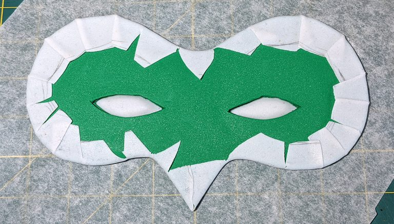 The mask base with the edges folded down.
